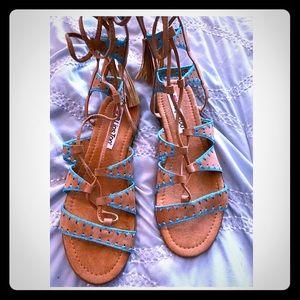 Turquoise Catherine Gladiator Sandal  Size 10